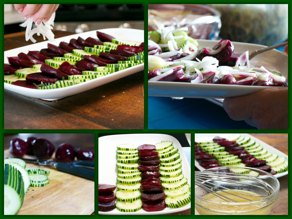Beet Cucumber Onion Salad Collage