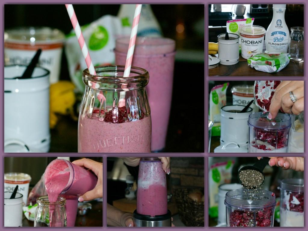 Raspberry Chia Smoothie Collage