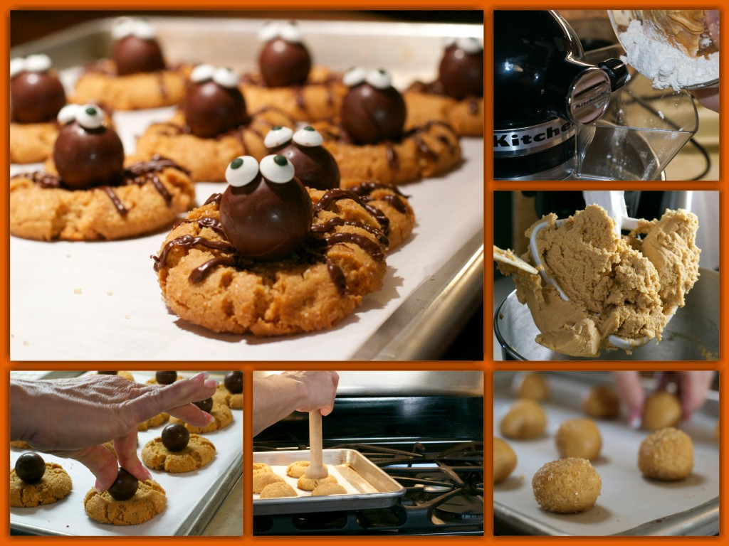 Peanut Butter Spider Cookies Collage