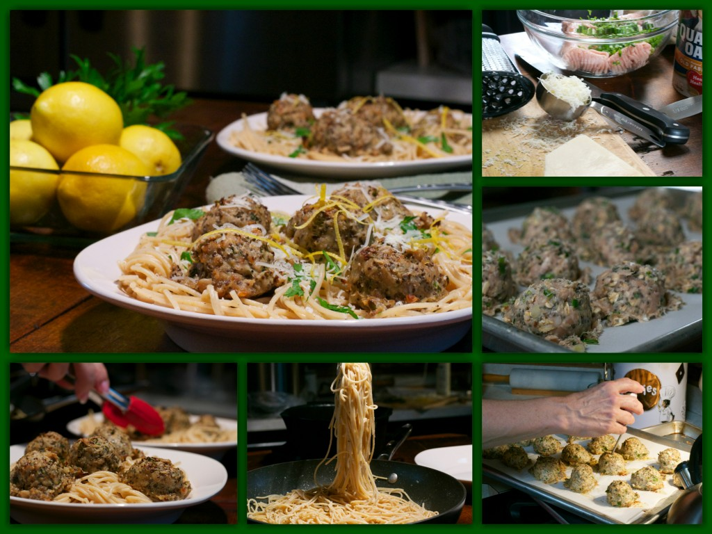 Spicy Chia Chicken Meatball Pasta Collage