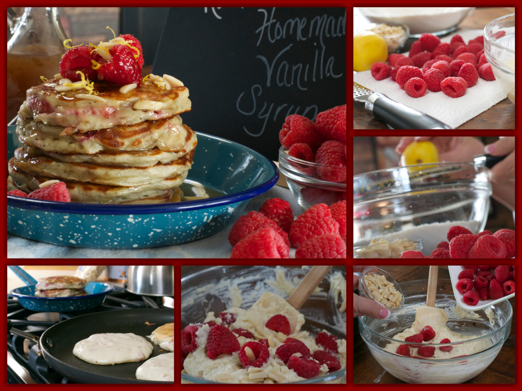 Raspberry Greek Yogurt Pancakes Collage