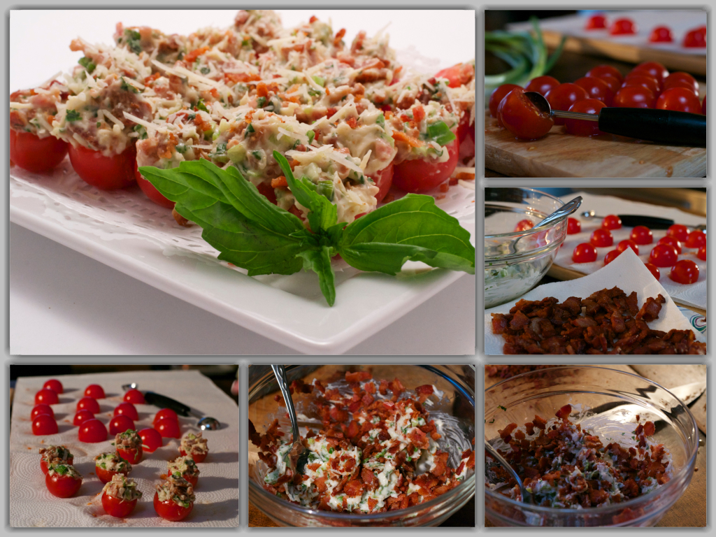 Bacon Filled Cherry Tomatoes Collage
