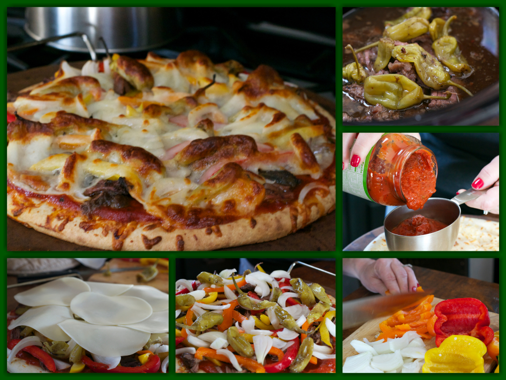 Italian Beef and Pepper Pizza Collage