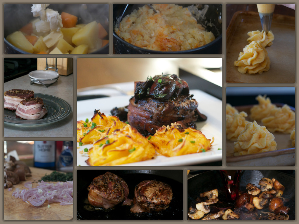 Merlot Mushroom Filet Collage