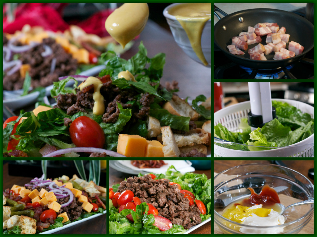 Bacon Cheeseburger Cobb Salad Collage