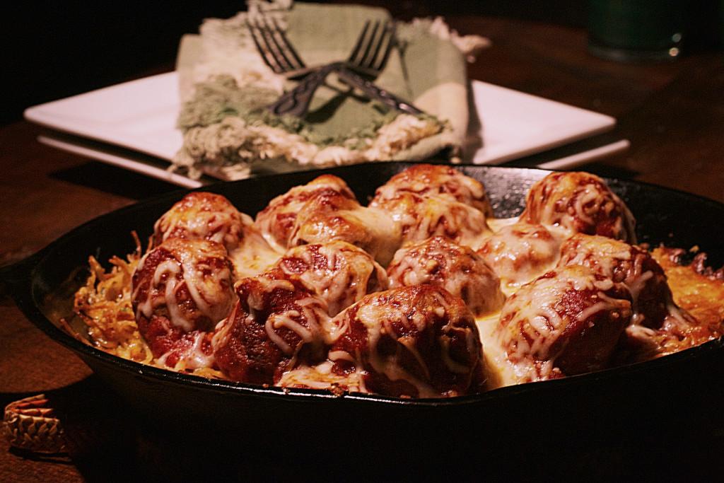 Cast Iron Spaghetti Meatball Pizza