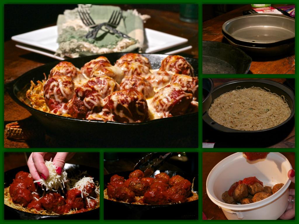Cast Iron Spaghetti Meatball Pizza Collage
