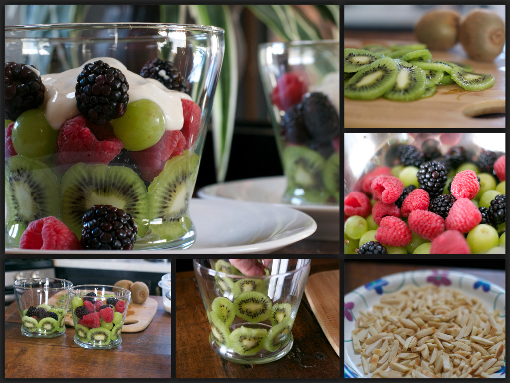 Sweet Yogurt Fruit Cup Collage