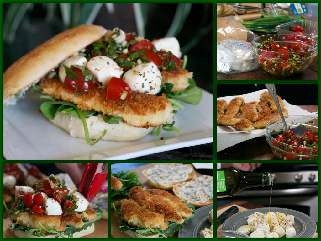 Caprese Chicken Tender Sandwich Collage