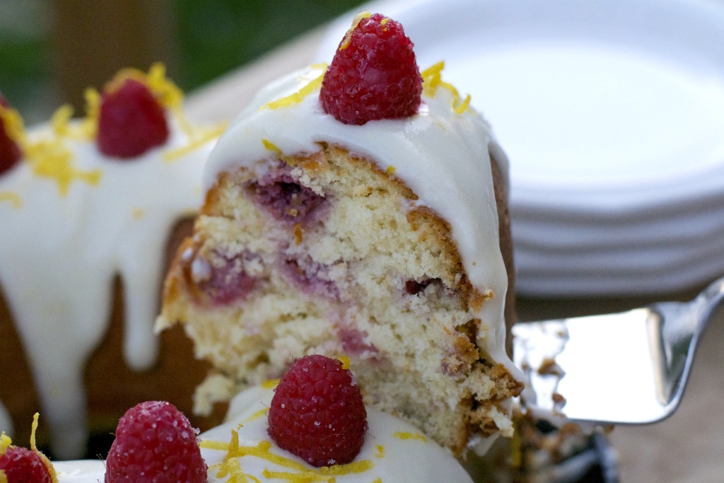 Lemon Raspberry Bundt Cake Cut