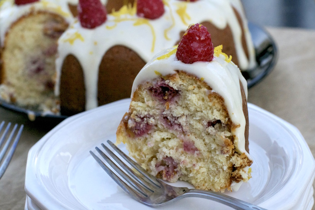 Lemon Raspberry Bundt Cake Slice