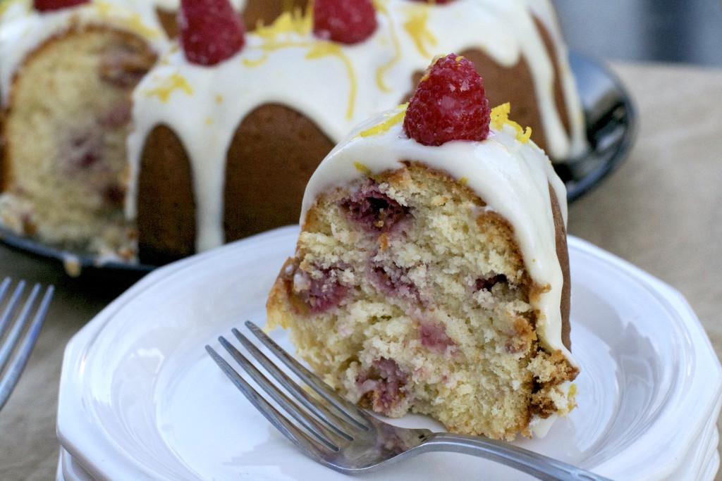 Lemon Raspberry Bundt Cake Slice