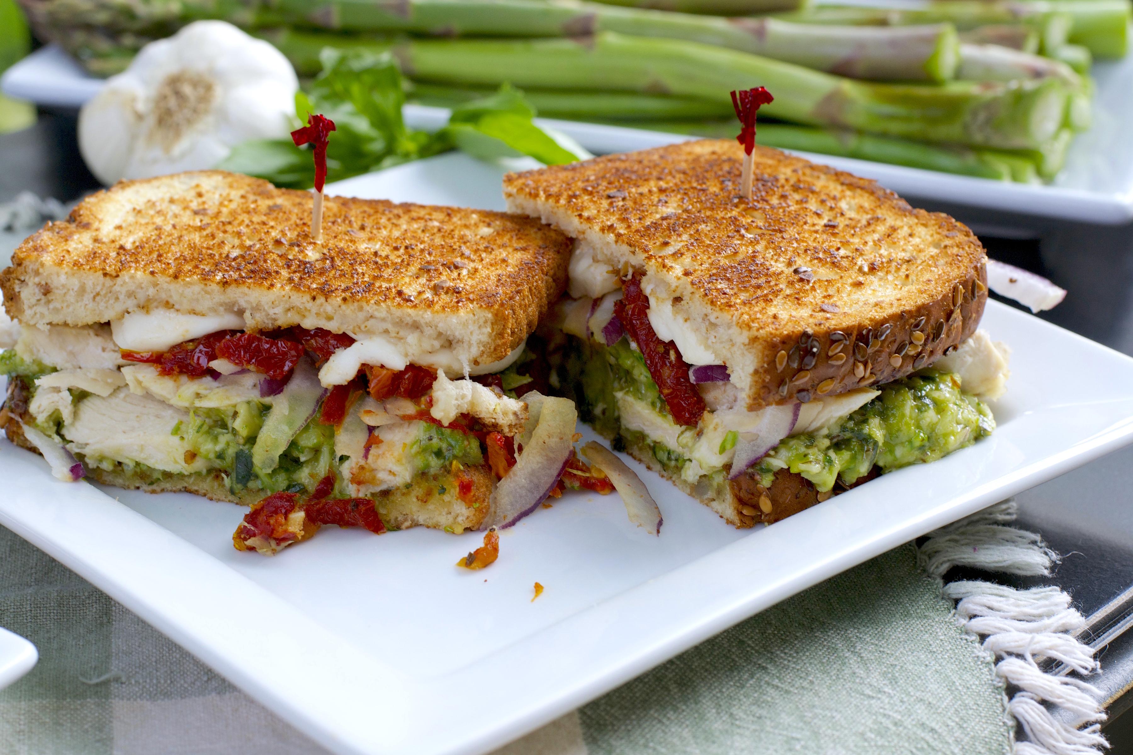 asparagus pesto chicken sandwich - what the forks for dinner?