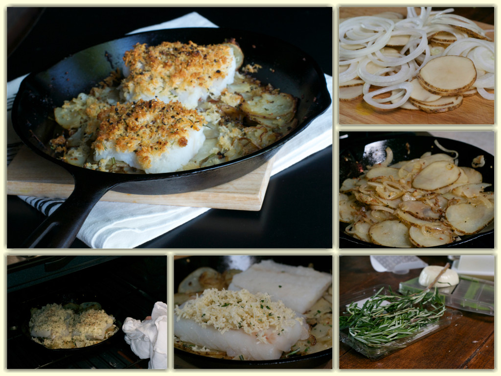 Cast Iron Cod Potato and Onion Collage