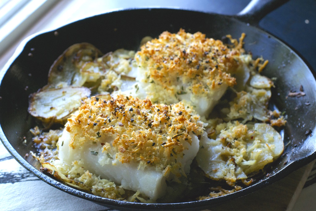 Cast Iron Cod Potatoes and Onions
