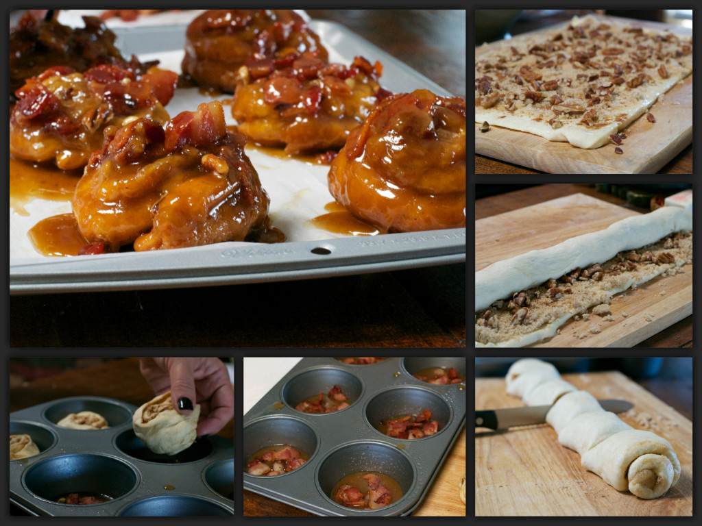 Bacon Maple Sticky Buns Collage