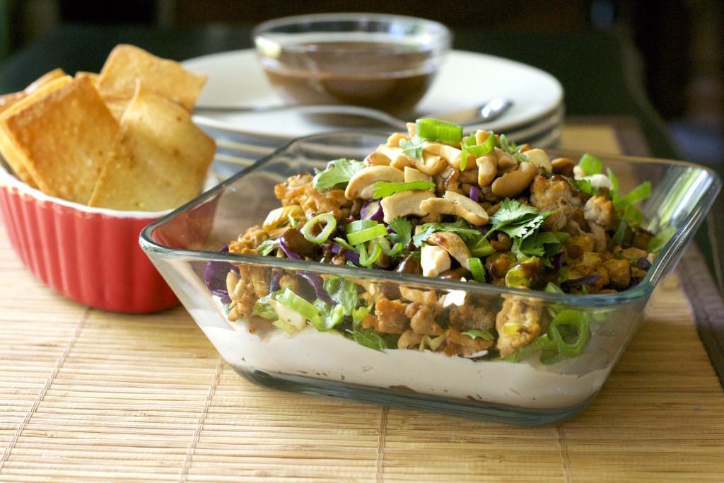 Layered Oriental Chicken Dip with Wonton Chips