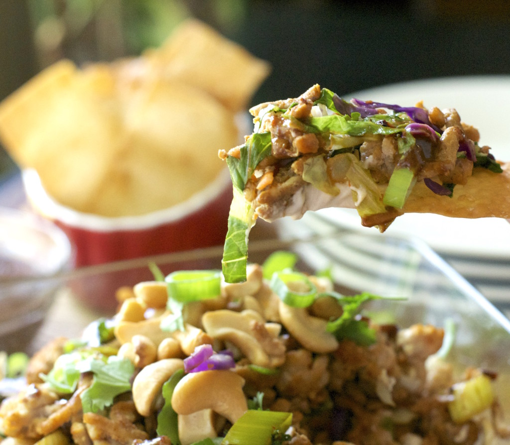 Layered Oriental Chicken Dip with Wonton Dippers 5