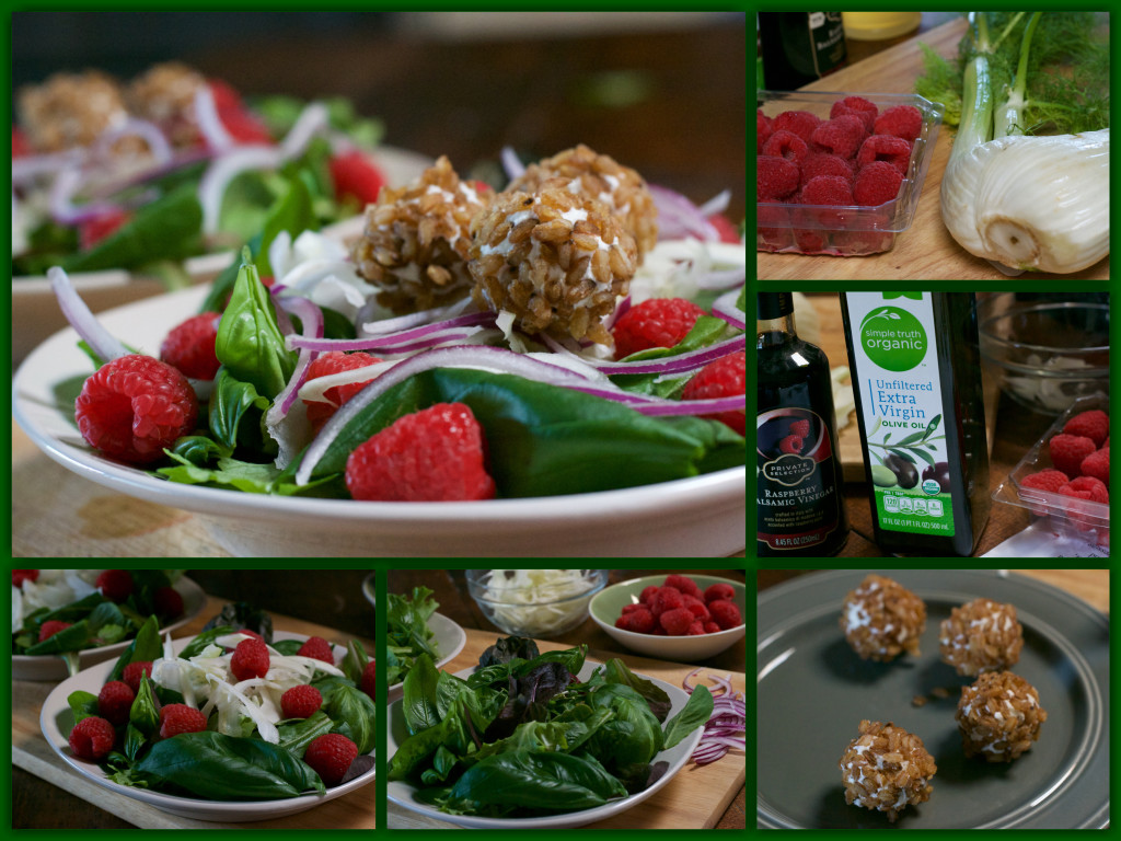 Cheese Ball Basil Salad Collage