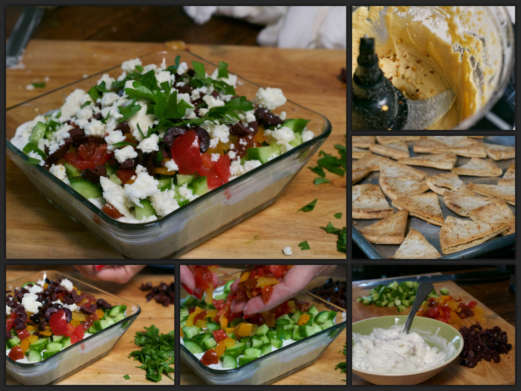 Greek 7 Layer Dip Collage
