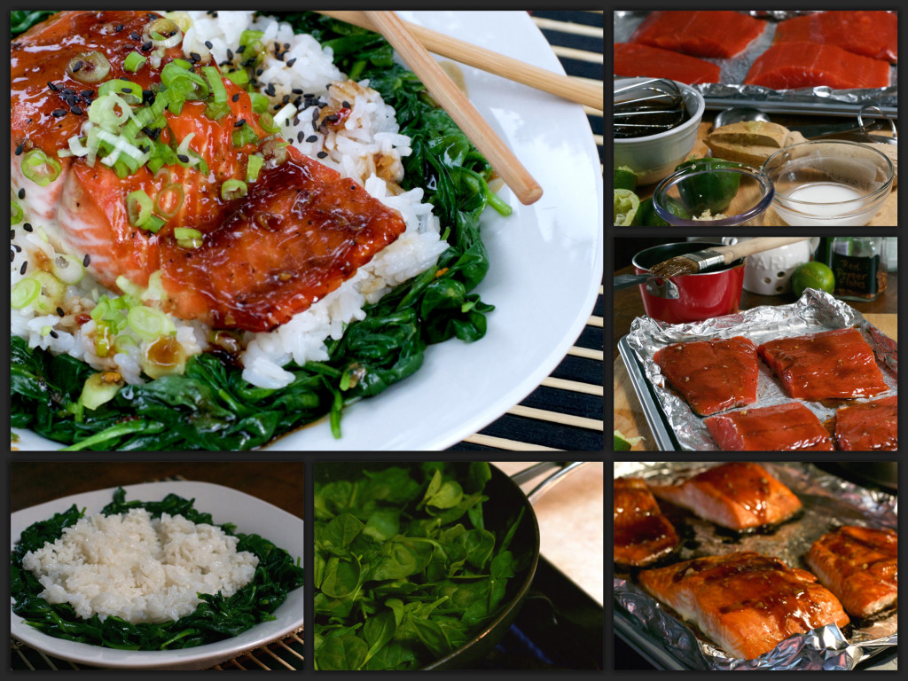 Glazed Salmon Rice Bowl Collage