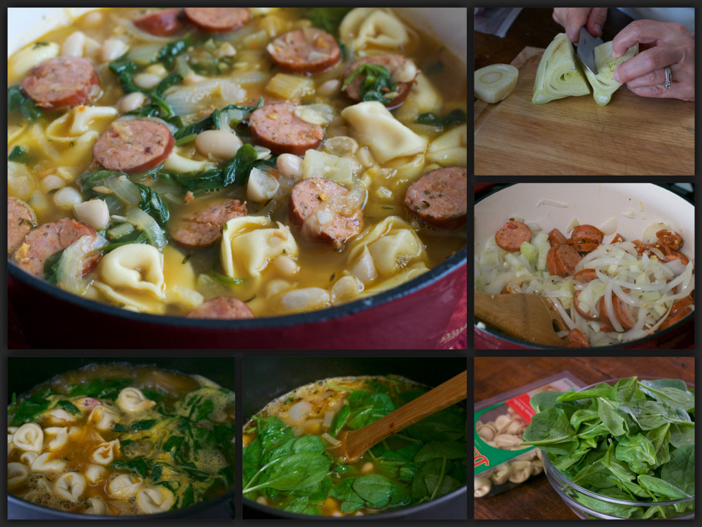 White Bean Sausage Tortellini Soup Collage
