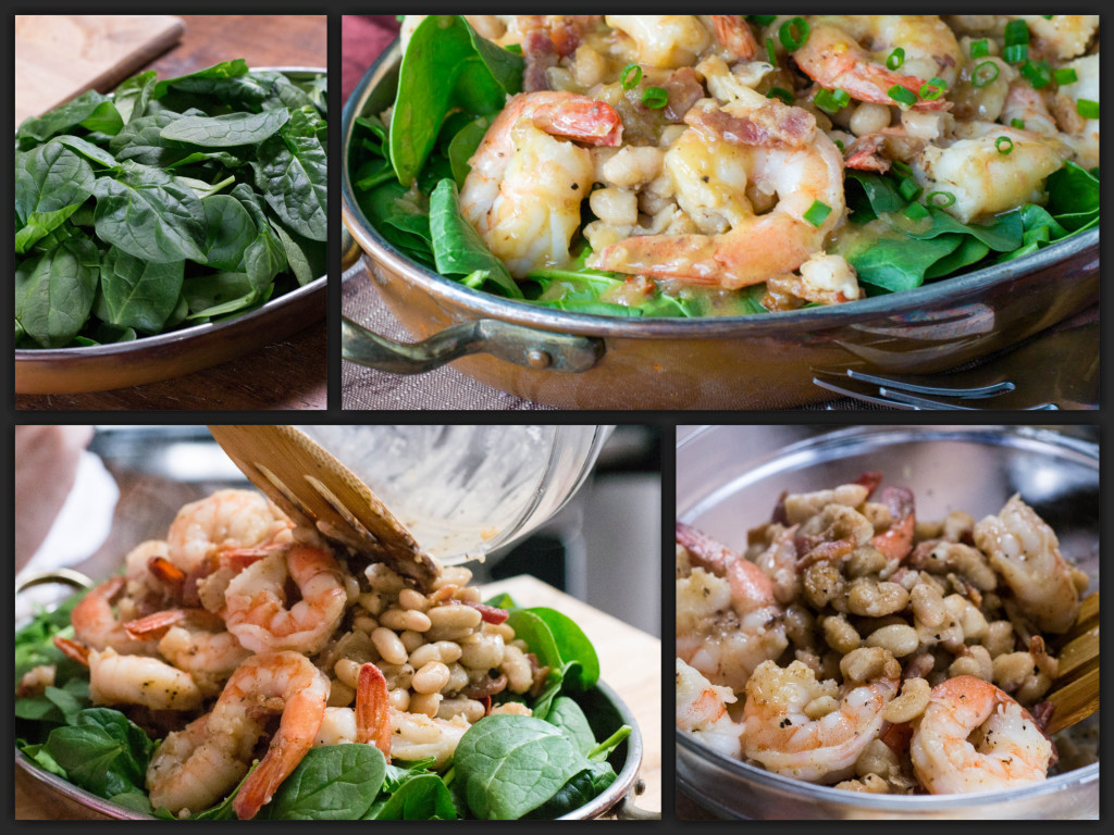 Warm Shrimp White Bean Spinach Salad Collage