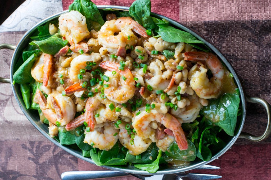 Warm Shrimp White Bean Spinach Salad 4