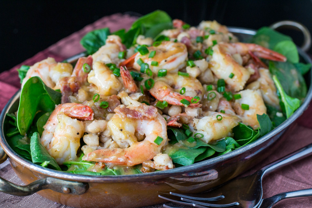 Warm Shrimp White Bean Spinach Salad 5