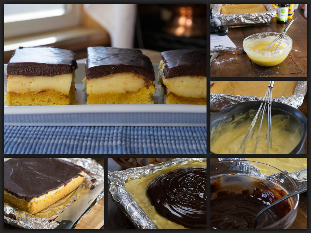 Boston Cream Pie Bars Collage