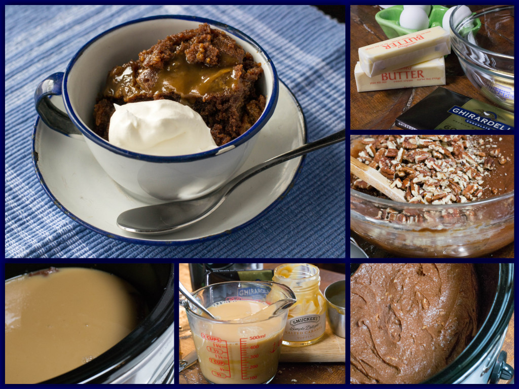 Caramel Pecan Crockpot Brownies Collage