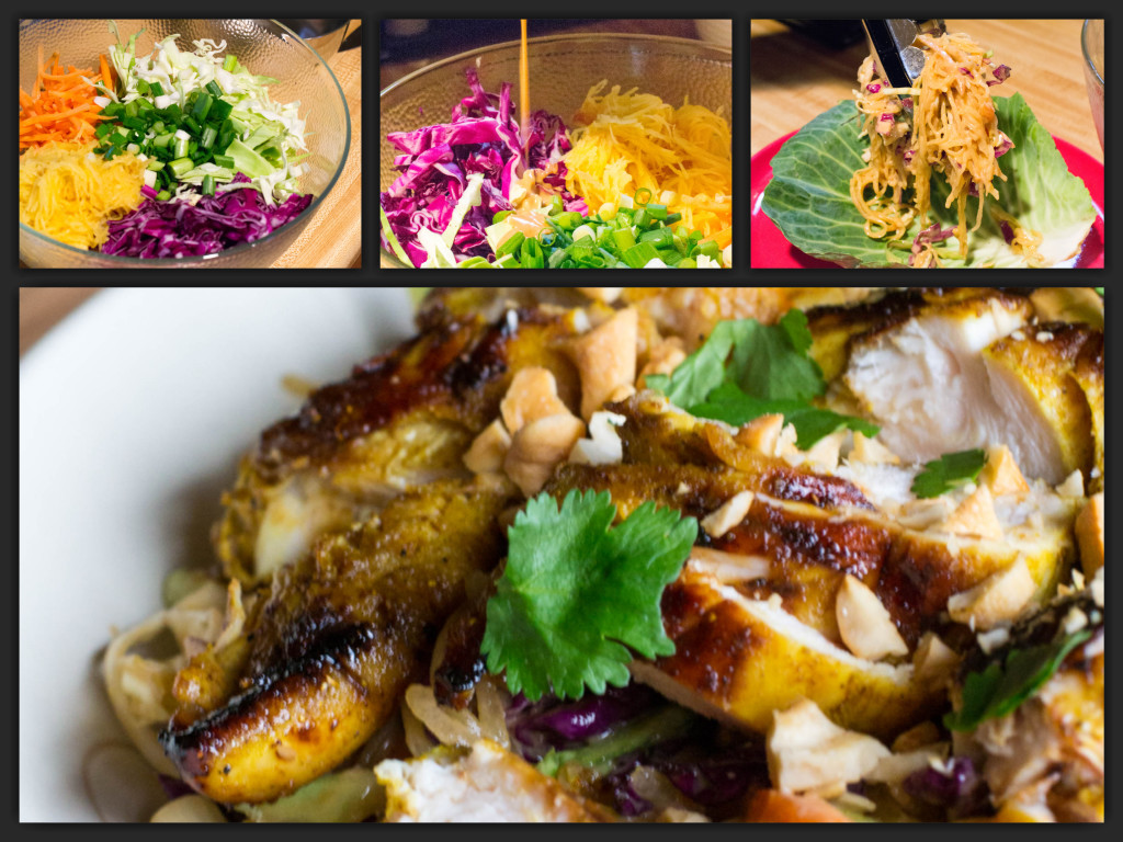 Chicken Satay Spaghetti Squash Salad Collage