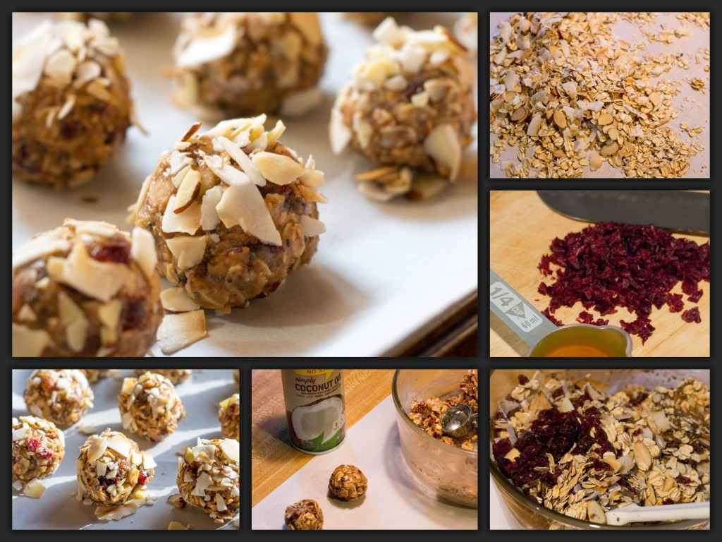 Cranberry Almond Energy Bites Collage