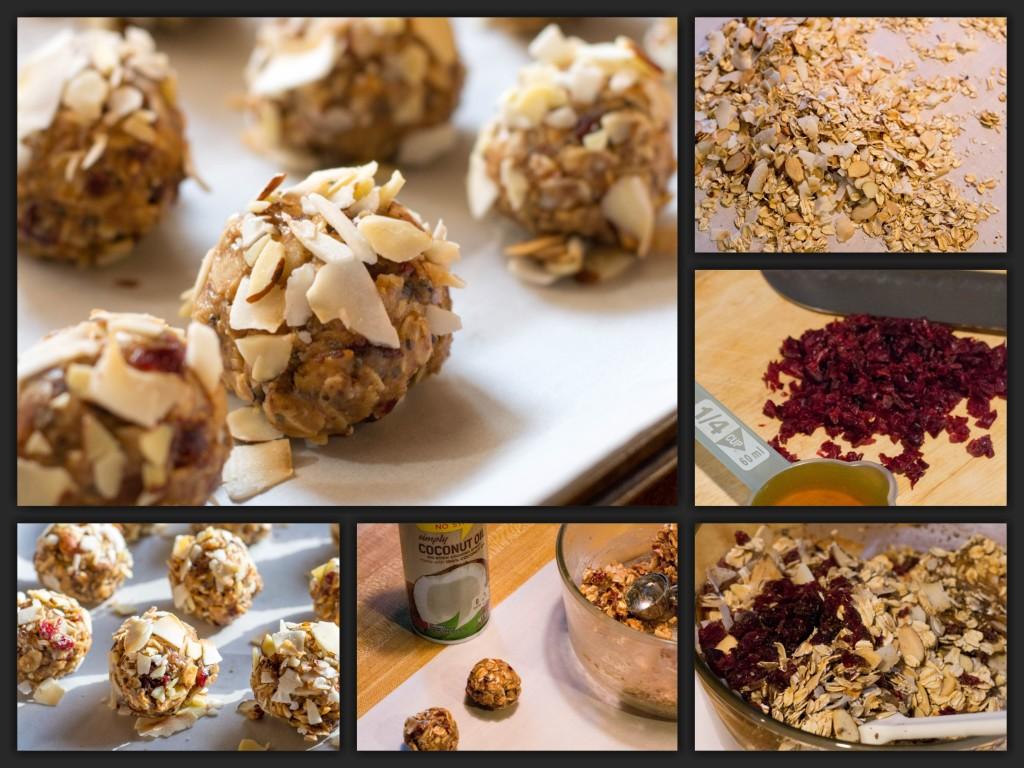 Cranberry Almond Energy Bites Collage