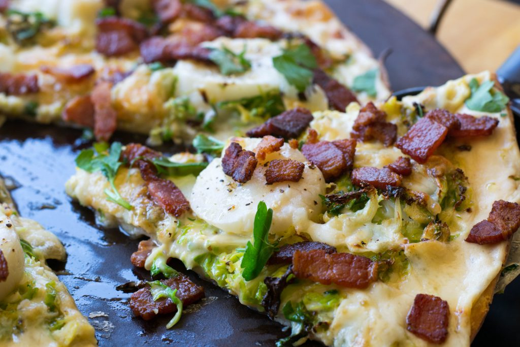 Scallop Bacon Brussels Sprout Pizza