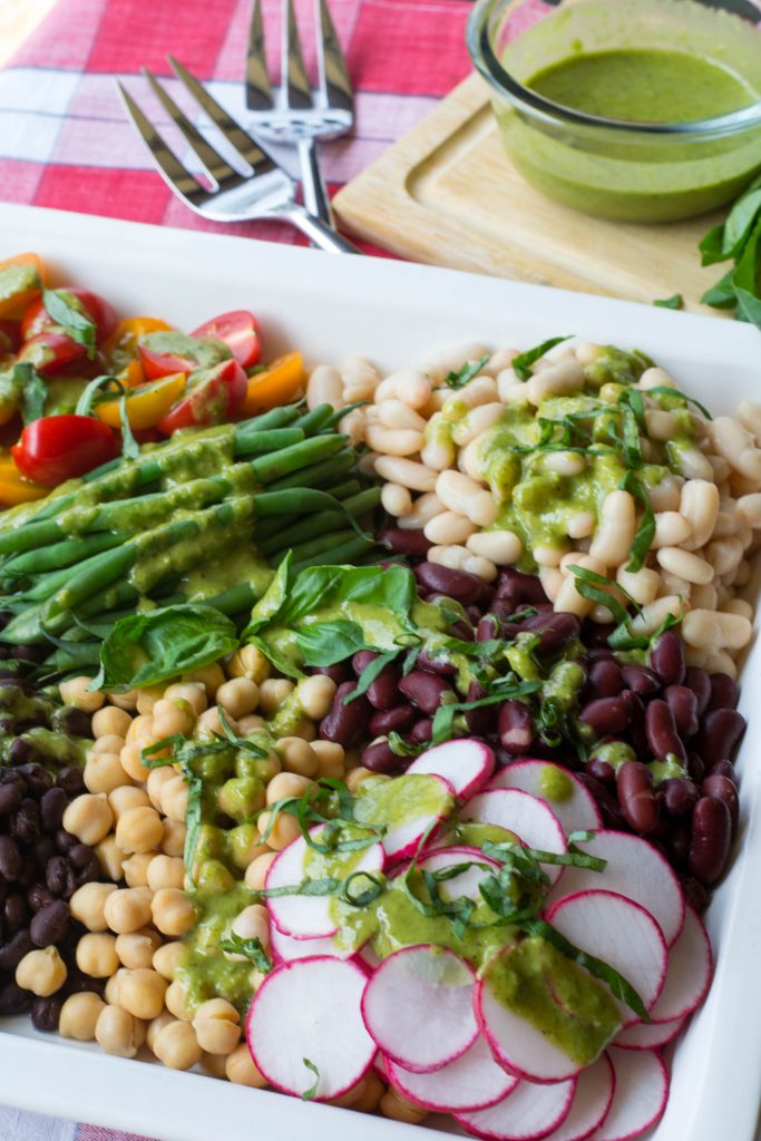 5 Bean Basil Salad