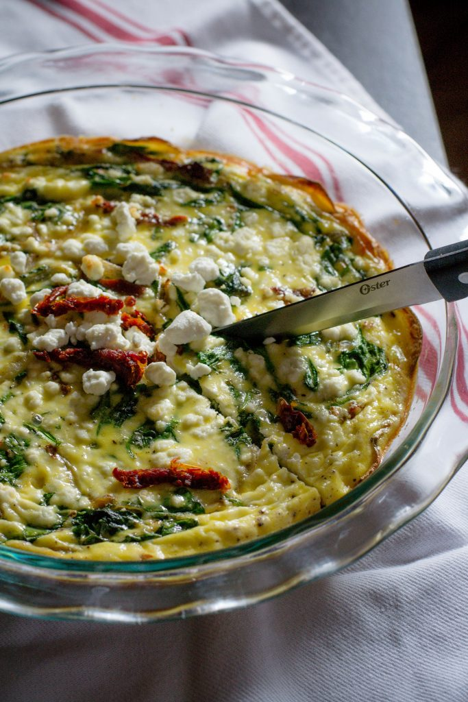 Potato Crust Spinach Quiche