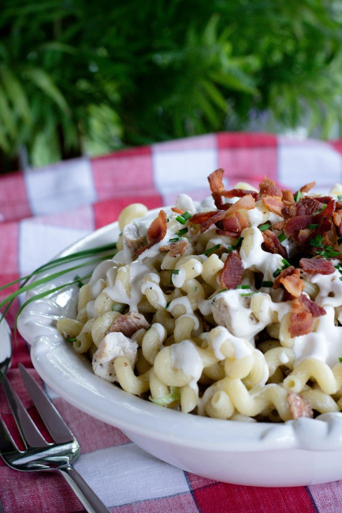 Chicken Ranch Pasta Salad with Bacon