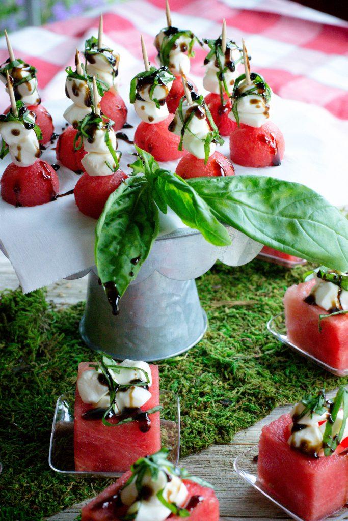 Watermelon Caprese Cups with Balsamic Glaze