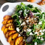 Grilled Peach Goat Cheese Salad with Candied Almonds