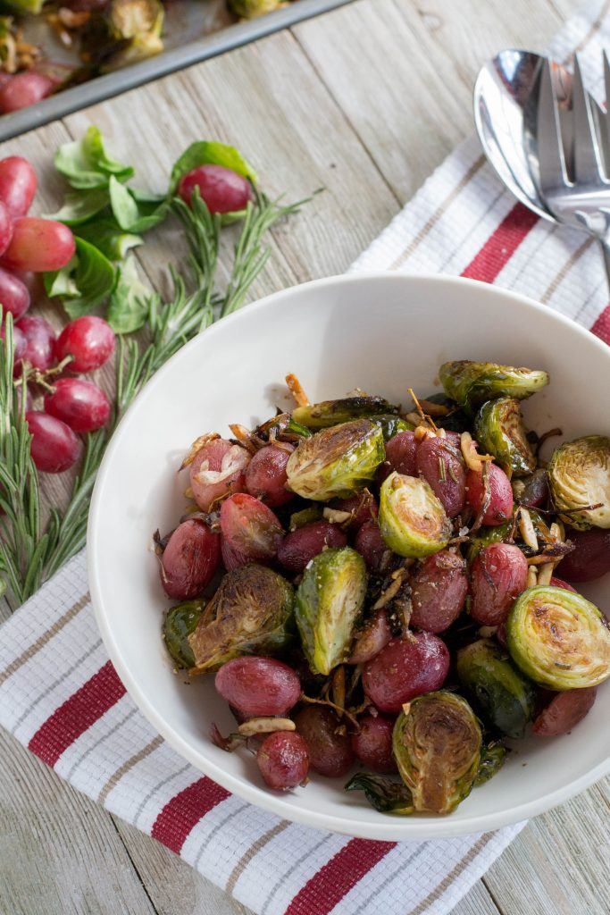 Rosemary Roasted Brussels Sprouts with Red Grapes