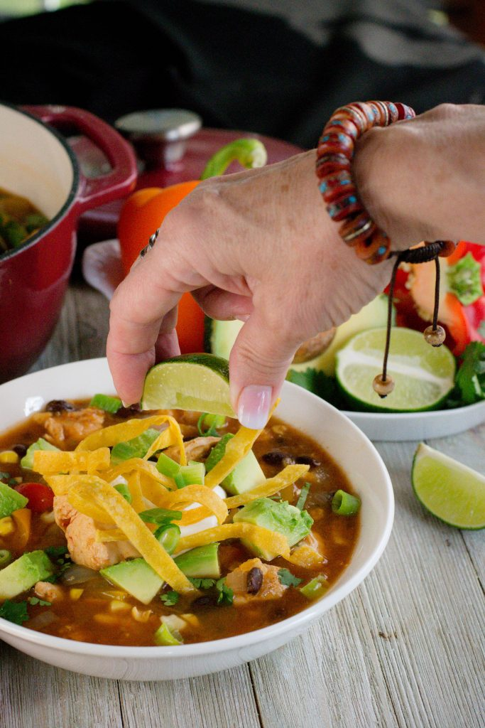 Insta Pot Salsa Verde Chicken Tortilla Soup