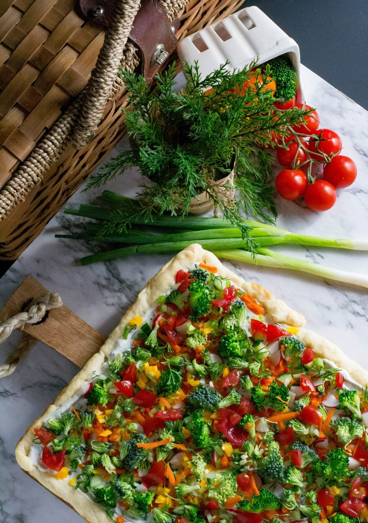 Two Ingredient Crust Veggie Pizza