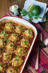 Crunchy Chicken Enchilada Meatballs