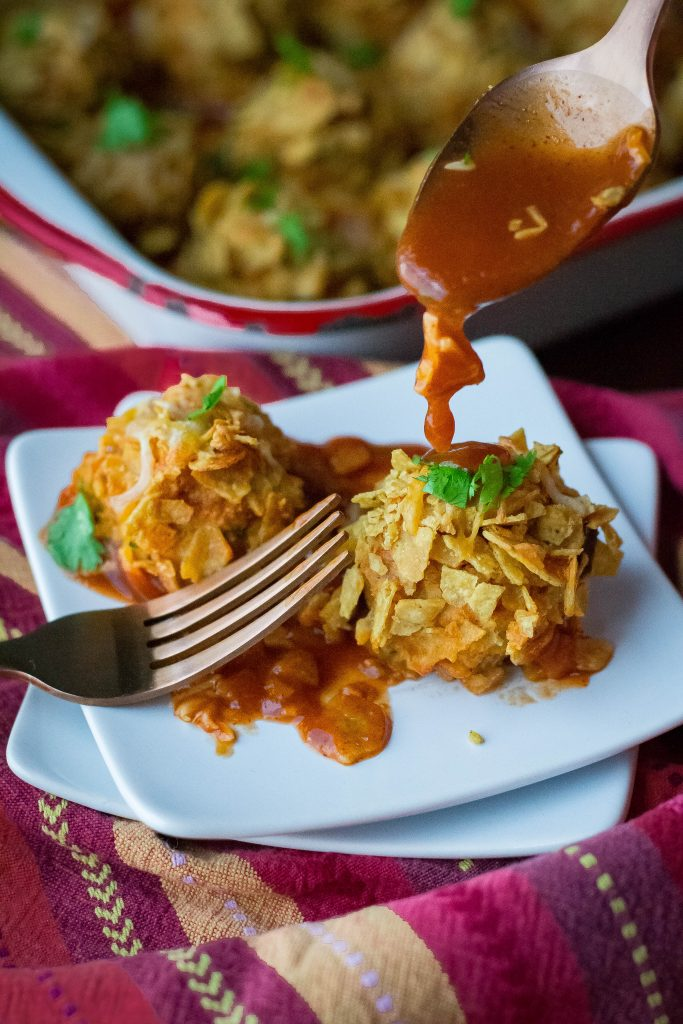 Crunchy Chicken Enchilada Meatballs