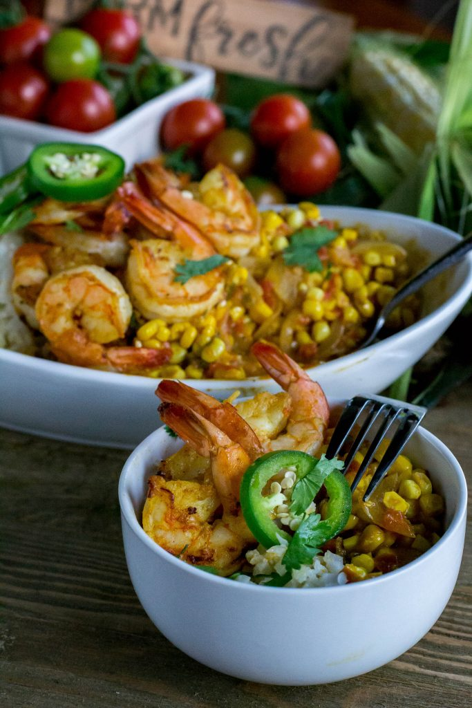 Sweet Corn Curry with Grilled Shrimp
