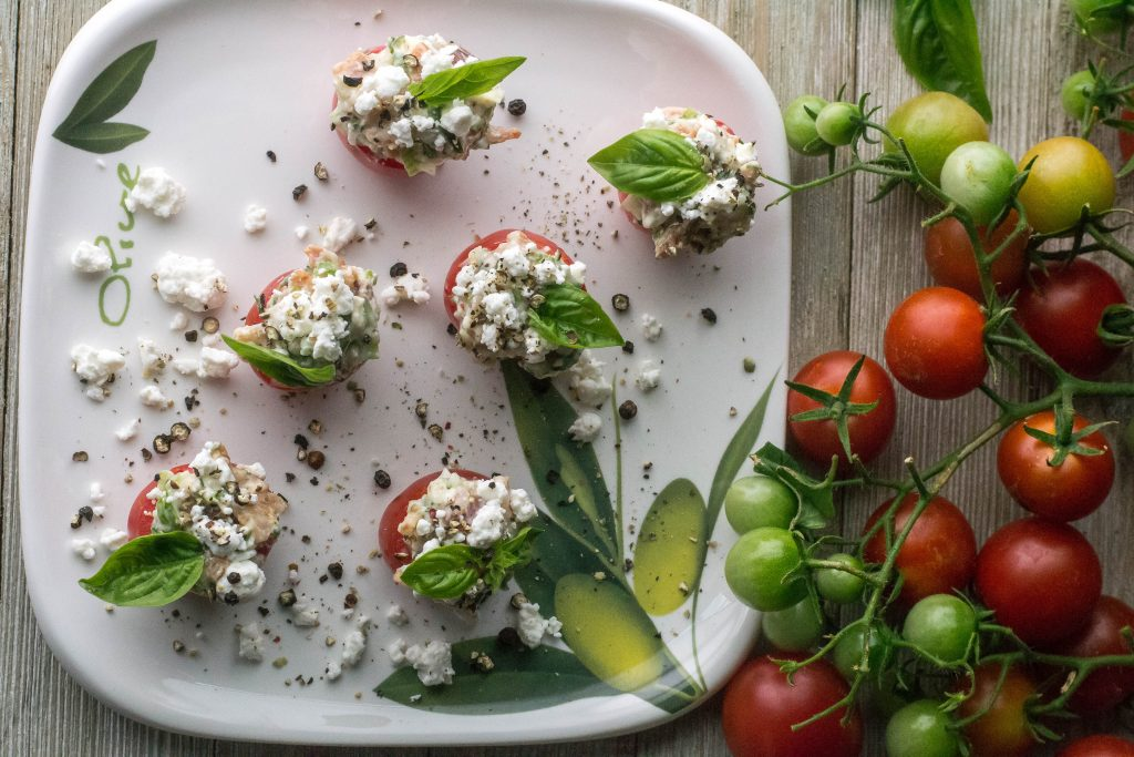 Bacon Goat Cheese Filled Cherry Tomatoes