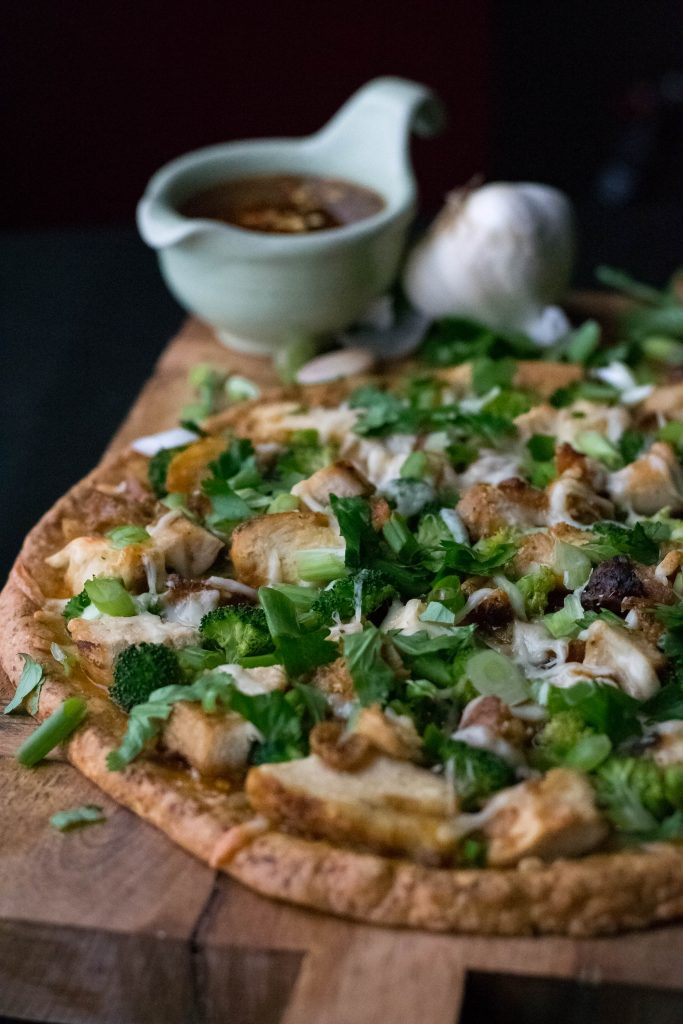 Sweet Chili Chicken Pizza with Cauliflower Crust
