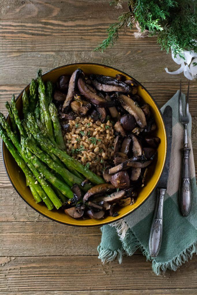 Roasted Mushroom Asparagus Bow