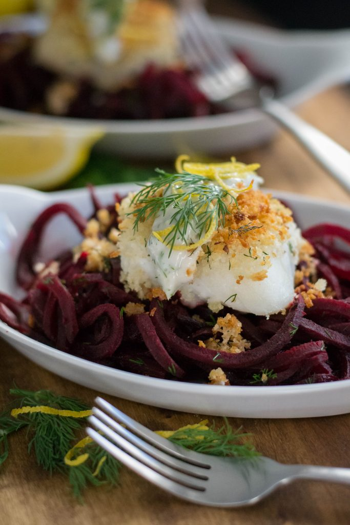 Panko Crusted Cod with Spiral Beets